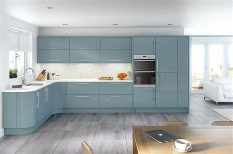 glacier high gloss metallic blue kitchen interior
