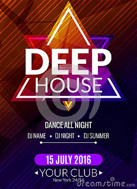 deep house music djs club electronic deep house music poster musical event dj flyer disco trance sound