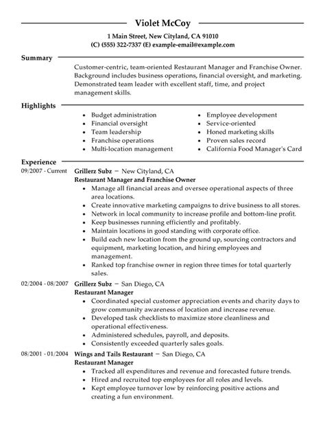 Restaurant Resume by Exle Resume Restaurant Owner