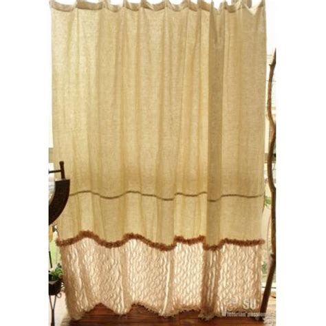 ruffle flower shower curtain 80 quot linen shower curtain shabby natural chic french
