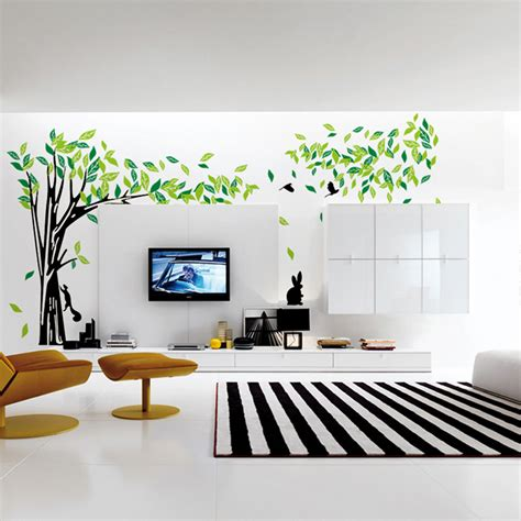 wall stickers for living room aliexpress com buy large green tree wall stickers vinyl