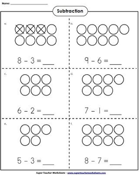 printable math worksheets super teacher use counters to learn basic subtraction kindergartenmath