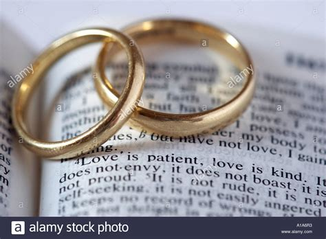 Bible Wedding And by Wedding Rings With Bible Verse Stock Photo Royalty Free