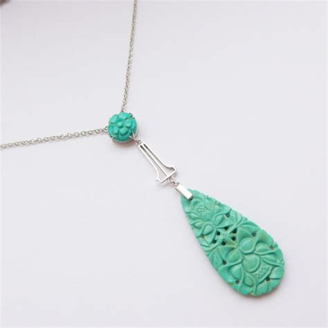 stunning deco carved turquoise 9ct white gold