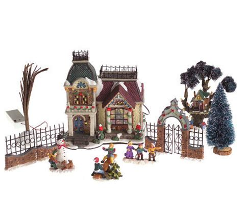 christmas village sets 10 piece fiber optic christmas village set qvc com