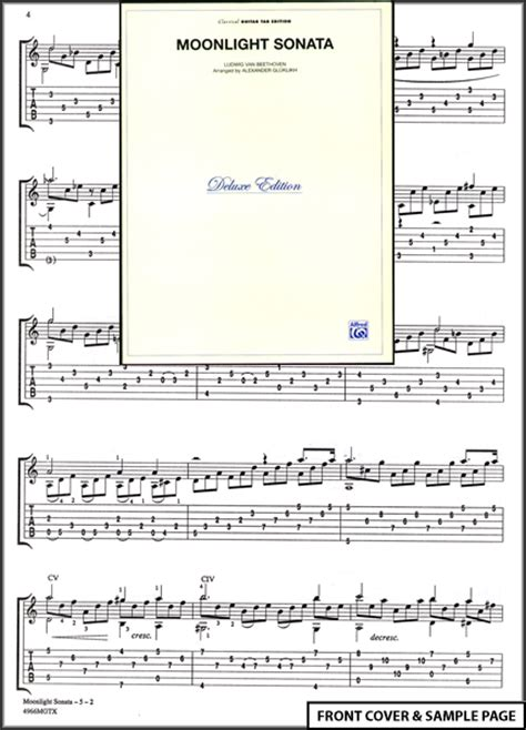 moonlight sonata easy to read piano tab method books moonlight sonata classical guitar tab sheet new ebay
