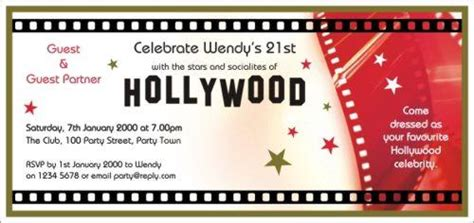 free templates for hollywood invitations 40th birthday ideas hollywood birthday invitation
