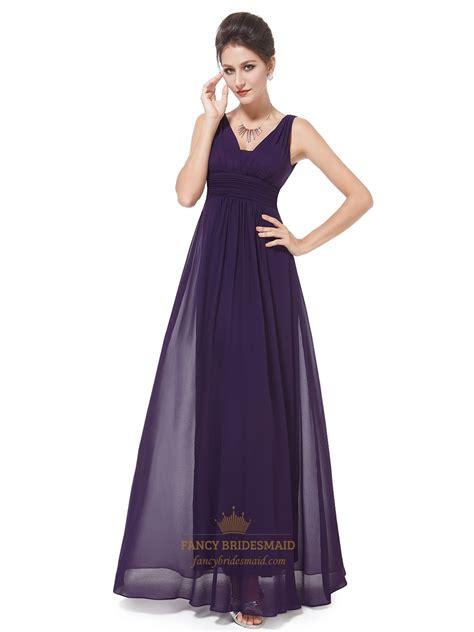 purple chiffon bridesmaid dresses plum chiffon v neck