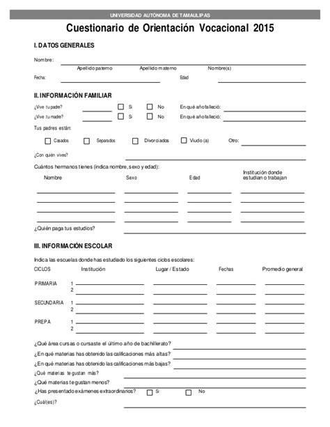 preguntas de una entrevista vocacional cuestionario de orientaci 243 n vocacional
