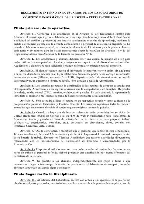 reglamento interno de escuelas preparatorias oficiales 2 reglamento interno laboratorios de computo prepa 12