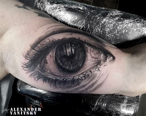 eyeball armpit tattoo arm realistic eye tattoo by kipod studio