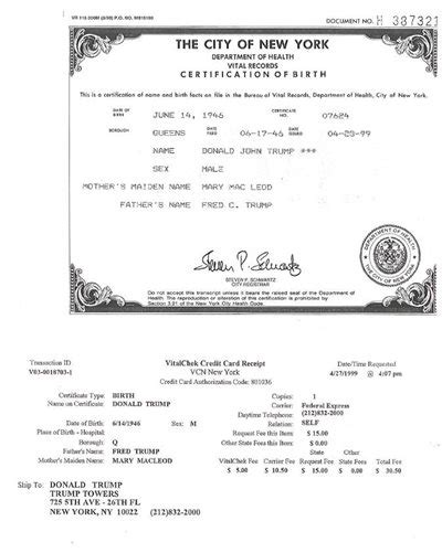 Vital Records New York Birth Certificate Receipt Paid 30 For Official Birth Docs Newsmax