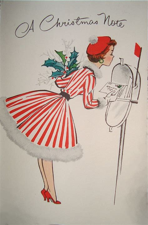 vintage christmas greeting card by norcross lady in