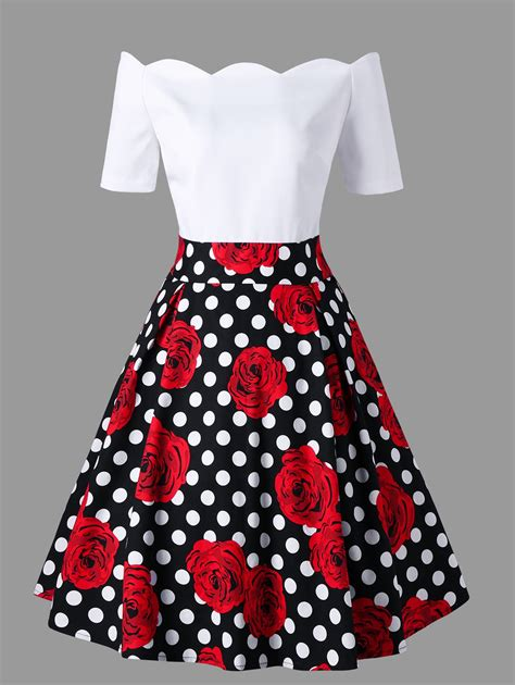 Dress Vintage shoulder polka dot roses print vintage dress in m