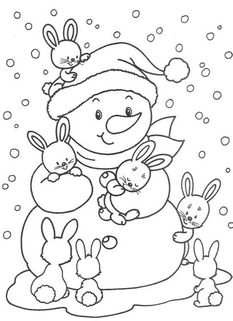 cute snowman coloring page cute bunnies and snowman free winter coloring pages 00
