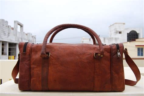Handmade Travel Bags - handmade real leather duffel bag weekend overnight