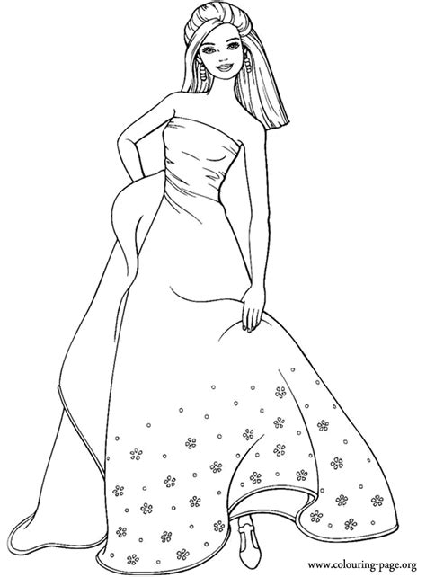 Barbie - Barbie wearing a long dress coloring page