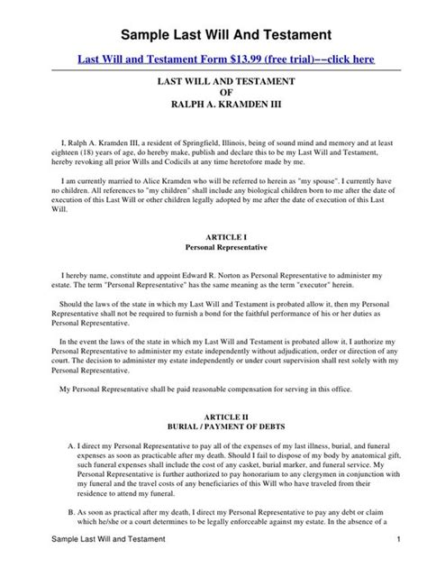 family will template printable sle last will and testament template form