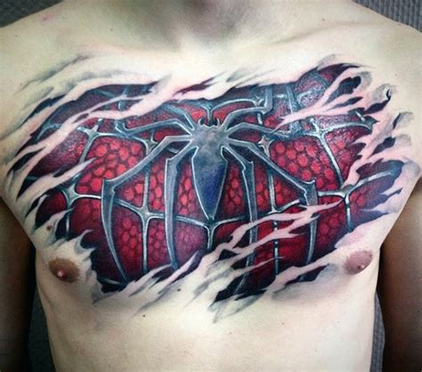 spiderman chest tattoo chest designs ideas and meaning