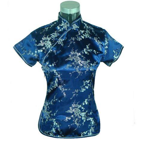Blue Flower Smocked Blouse Size S M L 1 buy wholesale satin blouse blue from china satin blouse blue wholesalers aliexpress