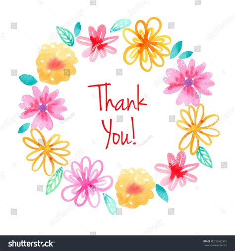 watercolor thank you card template watercolor flowers wreath vector thank you stock vector