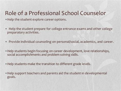 asca school counselor asca roles of a school counselors