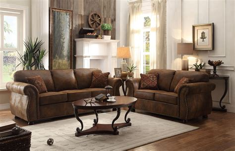 2 sofas in living room corvallis brown living room set from homelegance 8405bj 3