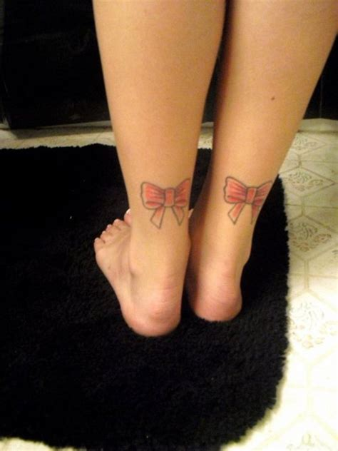 tattoo back ankle attractive pink bow tattoos on ankle tattooshunt com