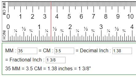 convert mm, cm to fraction or decimal inches (in=mm=cm)