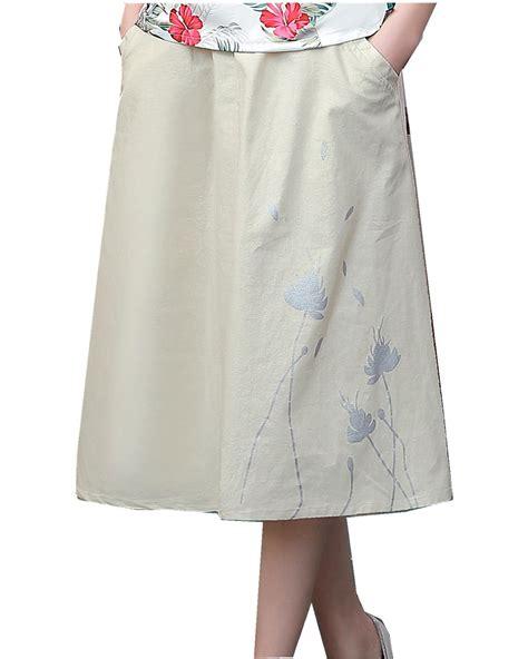 2017 linen knee length skirt summer skirts