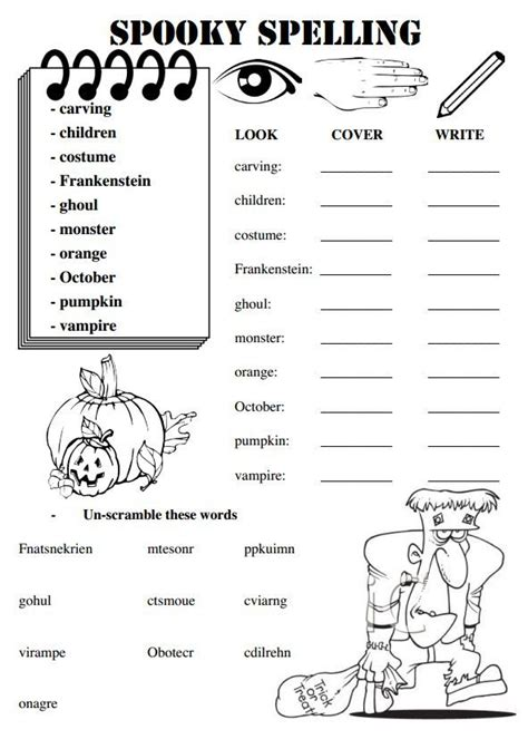 halloween themed words these worksheets are for a set of weekly spelling words