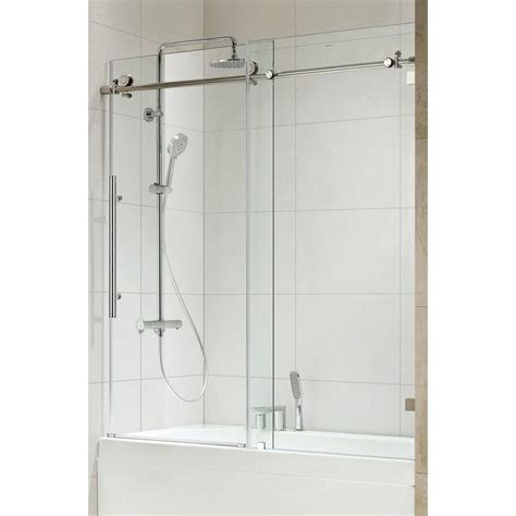 Sliding Frameless Glass Shower Doors Republic Trident Premium 59 In X 62 In Frameless Sliding Shower Door In Chrome With