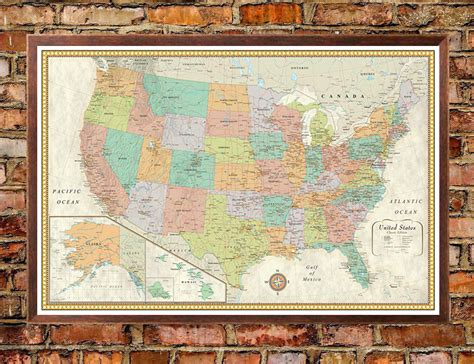 large usa wall map contemporary premier united states usa large wall map