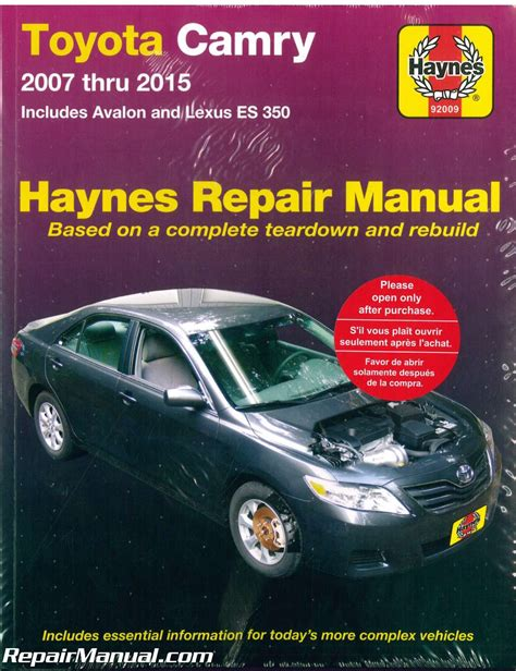free car manuals to download 2007 toyota highlander hybrid electronic throttle control haynes toyota camry avalon lexus es 350 2007 2015 car repair manual