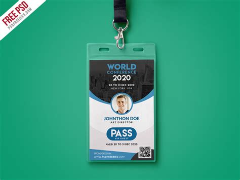 id template psd conference vip entry pass id card template psd