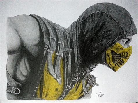 imagenes a lapiz de mortal kombat come here scorpions mortal kombat x grafito dibujarte