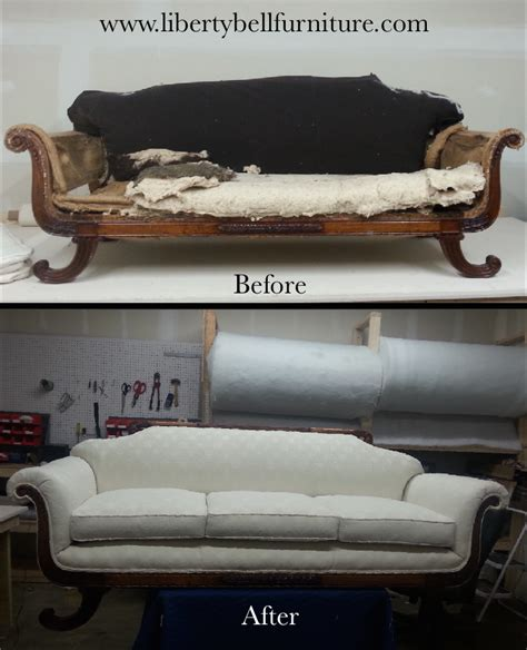 how to reupholster a vintage sofa liberty bell furniture repair upholstery antique