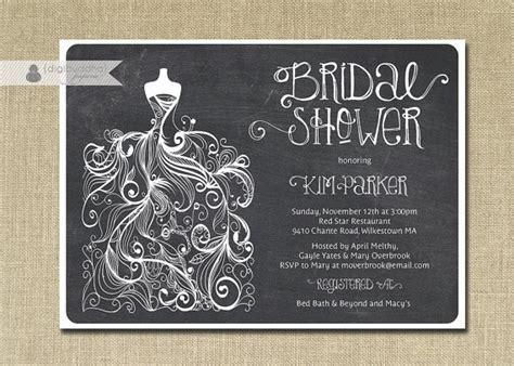 diy chalkboard bridal shower invitations chalkboard bridal shower invitation gown sketch black