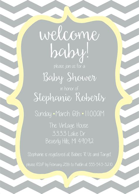 Yellow And Grey Baby Shower Invitations by Welcome Baby Baby Shower Invitation Yellow And Grey