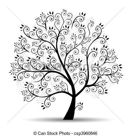 doodle meaning tree clip vecteur de silhouette arbre beau noir