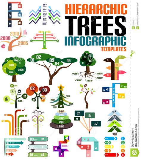 Hierarchic Tree Infographic Templates Set Stock Image Image 35924271 Family Tree Template Info Graphics