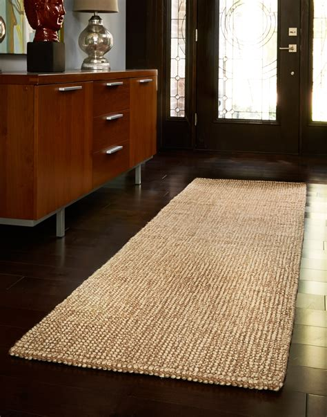 brown striped runner rug entryway hallway home decor
