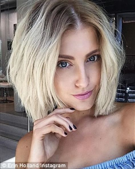 erin holland shows off her new shaggy bob hairstyle in