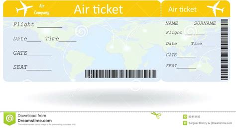 Plane Ticket Template For Gift airline ticket templates template 91 free word excel pdf