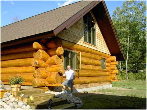 Log Cabin Forest Lake Mn by Great Lakes Log Crafters Association Handcrafted Log
