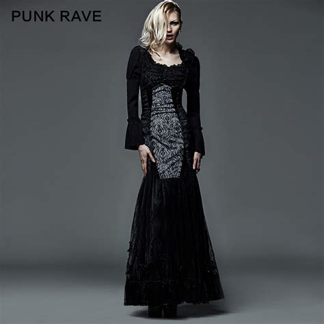 pattern gothic dress fashion sexy fishtail evening gothic dresses with printing