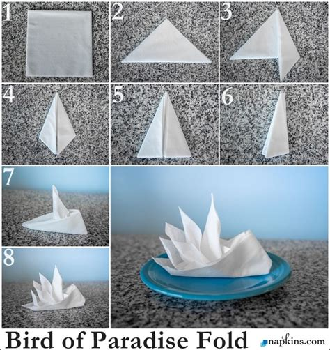 Paper Napkin Folding Techniques - bird of paradise napkin fold decor servilletas