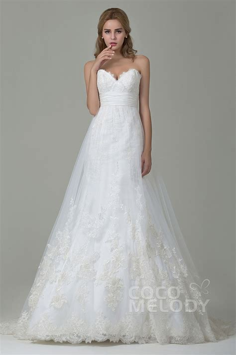 Wedding Dresses A Line by Cocomelody A Line Sweetheart Court Tulle Lace