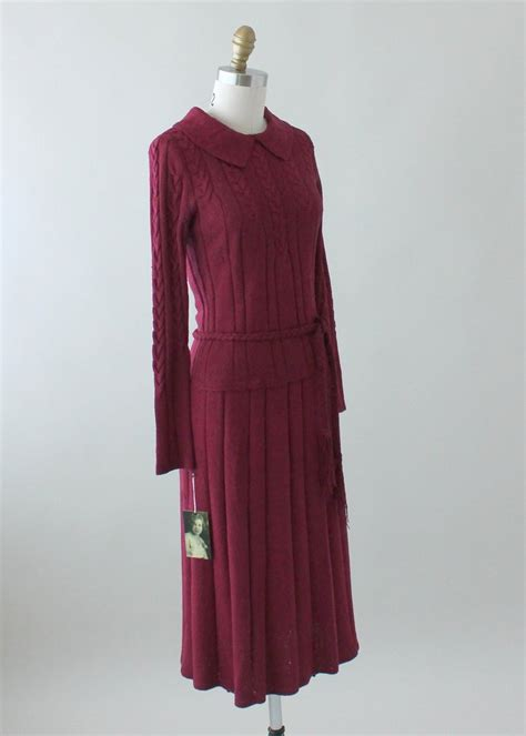 Set Sweater Knit Dress vintage 1930s plum knit sweater and skirt dress set