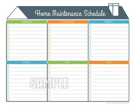 organizing schedule template home maintenance schedule home maintenance calendar